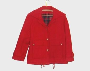 1960s coat / vintage 60s coat / medium m / Bright Red Wool Coat