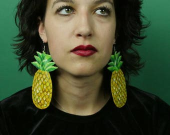 Large Pineapple Earrings, Pineapple Statement Earrings