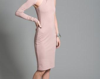Cocktail Dress / One Shoulder Dress / Unique Party Dress / Midi Length Dress / Party Dress / Marcellamoda - MD0003