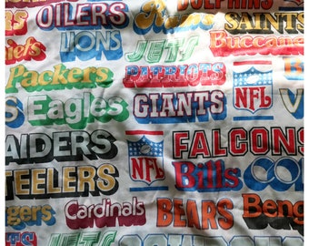 Vintage NFL  Bedding Set Flat Sheet Teams Fabric 70s 80s // Football Sheets
