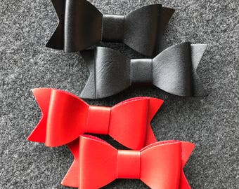 Baby Girl Hair Bows, Black Bow, Red Bow, Faux Leather Bows, Leather Hair Bows, Girl Hair Bows, Little Girl Bows, Baby Bows, Toddler Bows