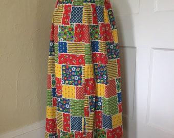 Vintage Handmade Maxi Skirt Faux-Patchwork Fabric- Bright Primary Colors- Hippie, Festival, Boho- Peter Pan Fabrics, Inc.