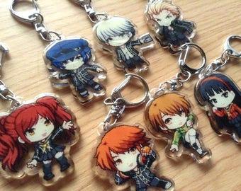 Persona 4 acrylic charms, Persona 4 Keychain, Persona 4 acrylic keychain, anime phone strap, anime keychain, yu, yosuke, chie, kanji, rise