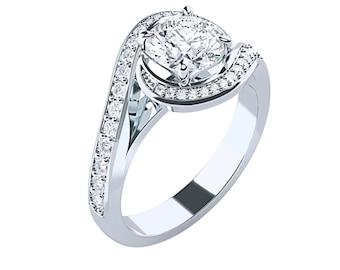 Spiral Halo Moissanite Engagement Ring Round Brilliant Cut 14K 18K Gold Platinum Palladium 1.42ct 6.5mm 1.92ct 7.5mm 2.42ct 8mm