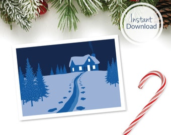 Printable Ski Cabin Christmas Card ~ Instant Download Ski Greeting Card ~ Gift for Skier ~ Gift for Snowboarder ~ Ski Gift ~ Ski Card