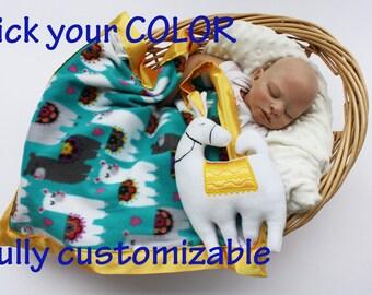 Llama Security Blanket, Baby Blanket baby blanket Lovey Blanket, Satin blanket, Baby Blanket, Alpaca blanket Customize add Monogramming