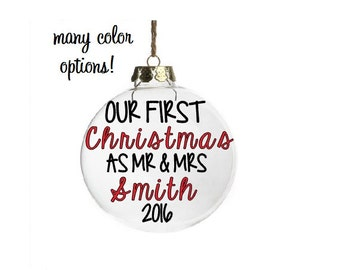 Personalized Wedding Gift Christmas Ornament Wedding