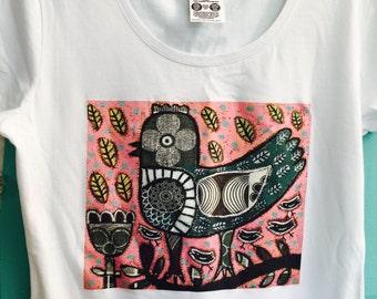 Ladies white T-Shirt, Womens tee, Rebecca Cool, Cotton tee, Printed t-shirt, Girlfriend gift, Christmas Gift, Australian Design, Ladies Tops
