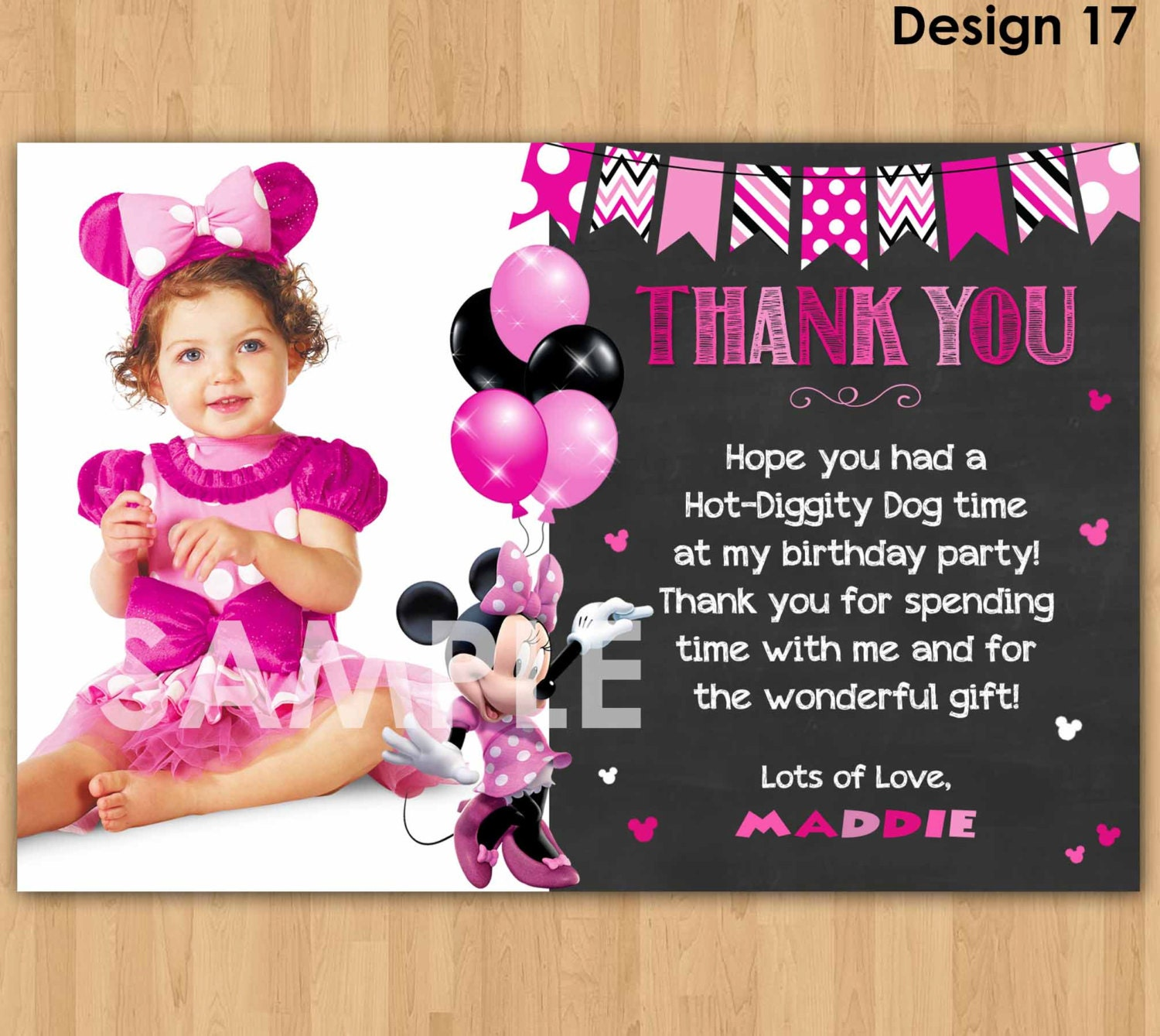 Minnie mouse thank you card with photo minnie thank you card zoom monicamarmolfo Images