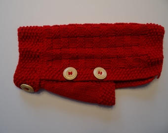 Cozy hand knitted red dog sweater for extra small dogs