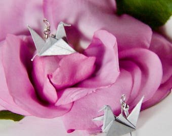 Origami Crane Earrings - Silver
