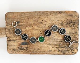 vintage typewriter bracelet authentic eight keys large keys 8.75 inches long one rare green key