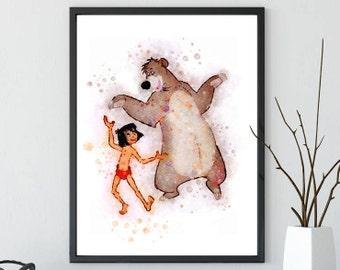 The Jungle Book Print Mowgli Print Watercolor Baloo Print Watercolor disney printable nursery decor baby shower kids decor nursery printable