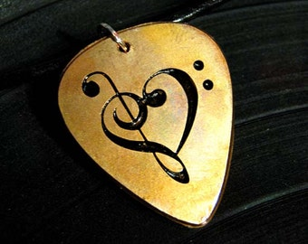 Music Heart, Engraved Copper Guitar Pick Necklace