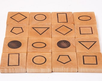 Wooden Memory Game, Mathematical Game, Geometric Symbols, Educational Game, handmade wooden toy, waldorf toy