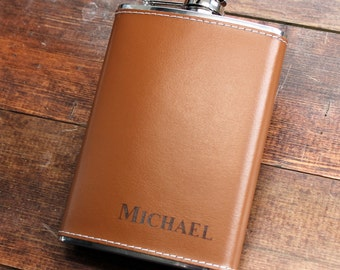 Genuine Brown Leather 6 oz Hip Flask - Personalized in Bottom Right Corner Groomsmen Gift, Birthday, Father's Day, 21st, Gifts for Men, Guy