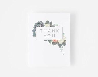 Thank You Card Set -  Botanical Illustration - Floral Frame - Succulent - Modern Minimalist - Notecard Set - Thanks - Gray Envelope
