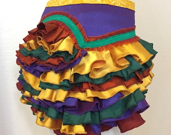 Upcycle Ruffle Bustle Purple gold rust green Burning Man Tutu Pixie Fairy Costume Steampunk Edwardian Victorian Gypsy Burlesque