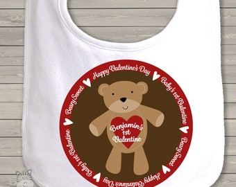 First Valentine Bear bib- adorable for your little valentine snlv-049-bib