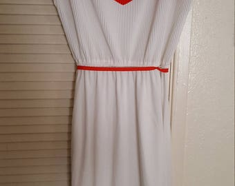 Orange and white casual 70s dress,ties at wsist.