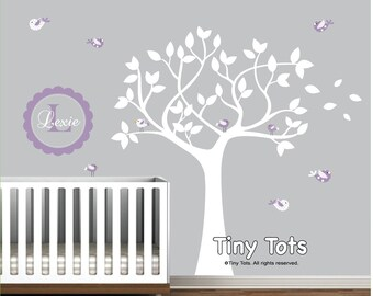 Tree Wall Decal Monogram with Birds-Nursery Kids Wall Decal