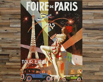 Foire De Paris Vintage Travel Ad, Paris Tour Ad, Vintage European Travel Art, Vintage Art, Giclee Art Print, Fine Art Reproduction.