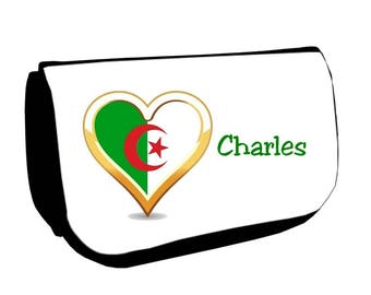 Black cosmetic case /crayons Algeria personalized with name