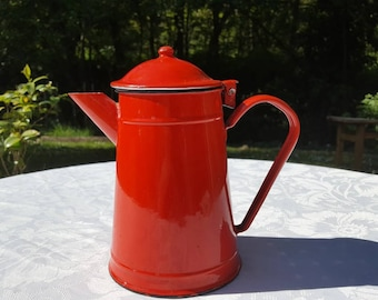 French vintage red enamel coffee pot , filter coffee pot, red  coffee pot,  kitchen decor