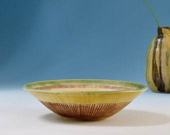 Sunny Yellow Fruit Bowl with Celadon Green Glaze - Incised Linear Pattern - Large Wheel Thrown Pottery Bowl - Handmade Ceramics - Salad Bowl