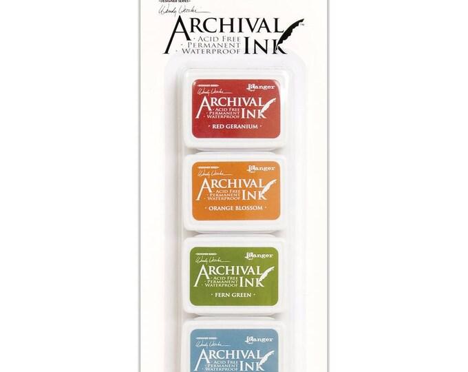 New! Wendy Vecchi Archival Mini Ink Pad Kit - Set # 4 (Red Geranium, Orange Blossom, Fern Green, and Cornflower Blue)