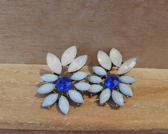 Vintage style old hollywood Pretty diamante blue floral earrings