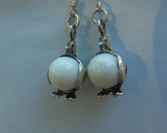 Sterling Silver Penguin Earrings With White Jade