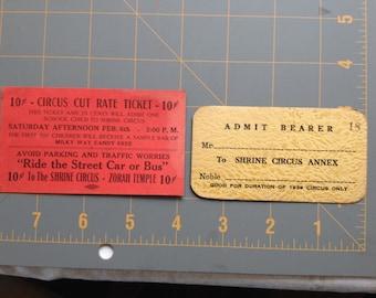 1939 Shrine Circus Tickets, Vintage Circus Tickets, Circus Tickets, Circus Memorabilia, Circus Ephemera