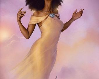 African American Fantasy Wall Art Natural Black Hair Afro Painting Afrofuturism Black Girl Magic Illustration Print by Sheeba Maya