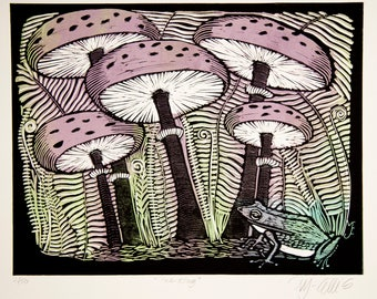 linocut, King of Toadstools, mushroom, frog, forest, woodland, pastel colors, light green, lavender, black, home interior, rustic decor