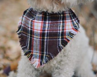 Frayed over the collar dog bandana / fall bandana / dog bandana / pet bandana / over the collar / puppy bandana / slip on dog bandana