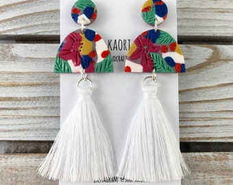 Statement tassel earrings with handcrafted polymer clay- tropical floral white