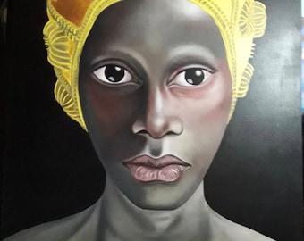 Fine Art Urban Pop Black Lady Huge Painting Bali Wall Street Art Acrylic Canvas
