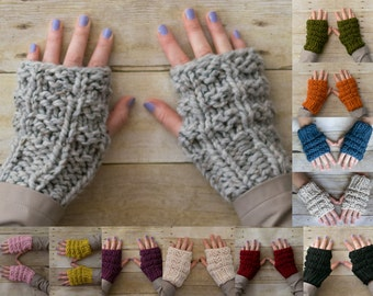 Soft Wool Chunky Knit Fingerless Gloves Hand Warmers Texting Gloves - 13 Colors - Ready to Ship