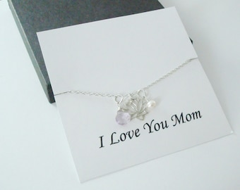 Lotus Charm with White Pearl and Pink Amethyst Silver Necklace ~Personalized Gift Card for Mom, Mother in Law, Mother of Groom, or Step Mom
