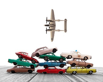 Vintage Matchbox Cars Stacked Airplane Fly By on White and Grey Background, Photo Print, Boys Room decor, Boys Nursery Prints