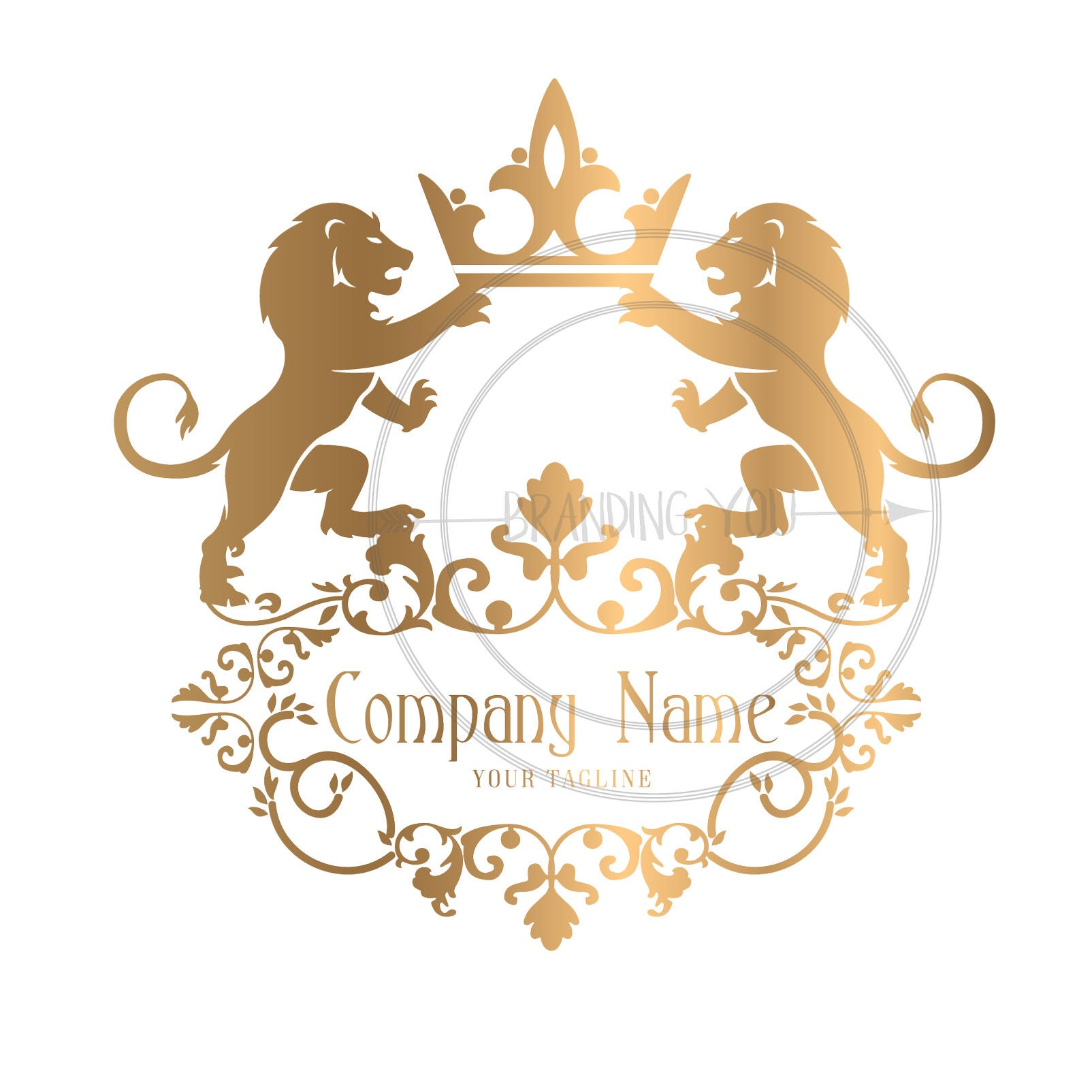 custom logo design gold lions logo lions with crown logo