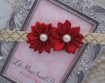 Pretty Dark Red 1.75 inch satin flowers on ivory and gold foil soft stretch elastic, newborn, photo shoots or everyday, Lil Miss Sweet Pea