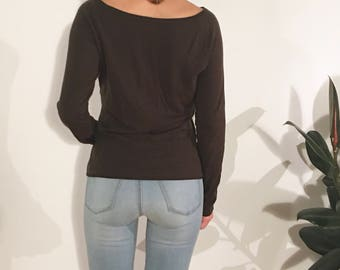HOPE Dark Chocolate Brown Long Sleeve Boat Neck Knit Top