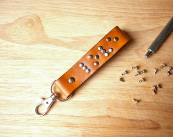 Personalized Keyring - Braille Leather Key Fob - Best Friend Gift for Visual Impaired - Braille Keychain - Leather Anniversary Gift for Him