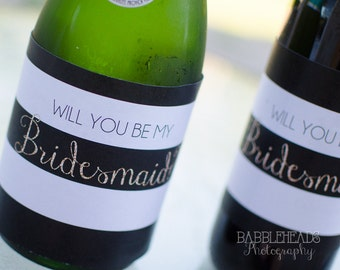 SALE! Gold and White Striped Bridesmaid Maid of Honor or Matron of Honor Gift Wine Bottle Labels