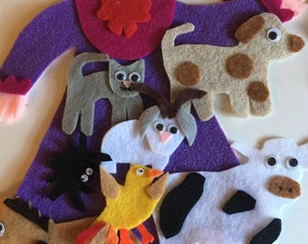 There Was an Old Lady Who Swallowed a Fly - Children's Felt / Flannel Story for Early Childhood Education