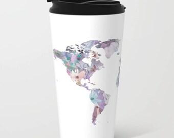 Flowers travel mug etsy travel mug world map mug travel lover gift idea wanderlust coffee mug gumiabroncs Image collections