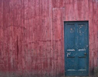 Blue Door Red Wall Fine Art photograghy 8x10 with 11x14 mat Rustic Minimal primary colors simple home decor Orkney Scotland country cottages