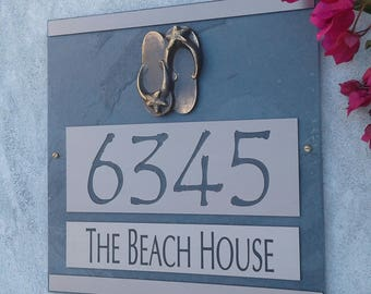 Beach Sandals Address Plaque Coastal House Numbers